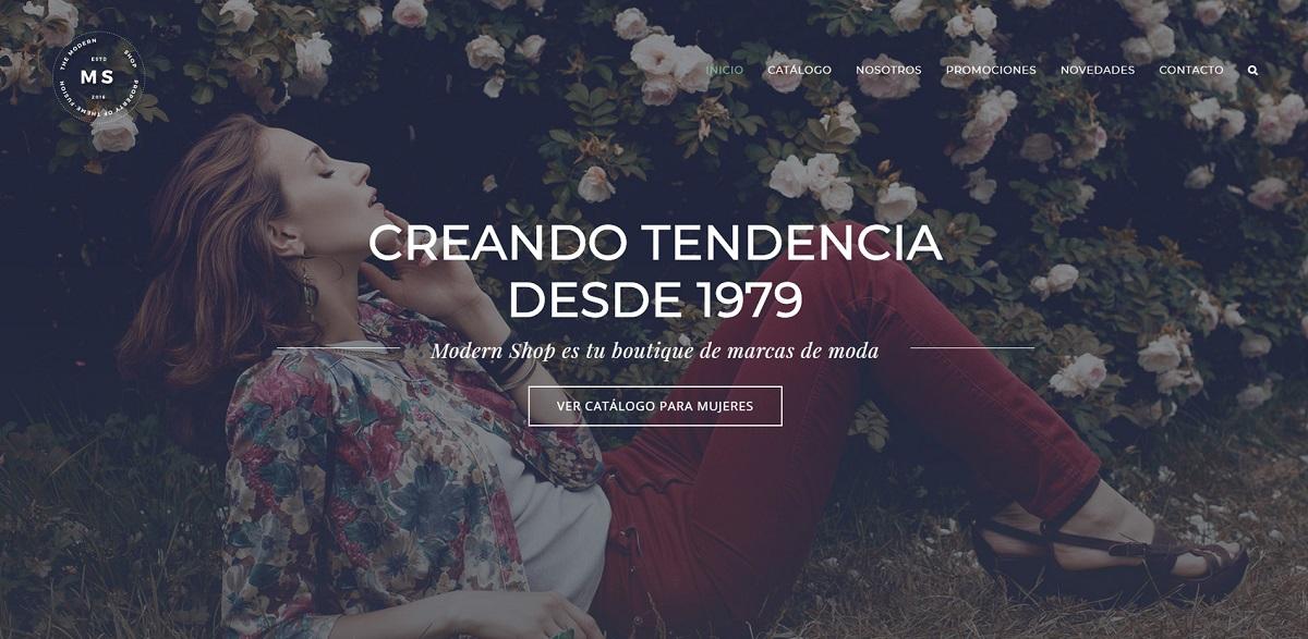 Página web para tienda de moda